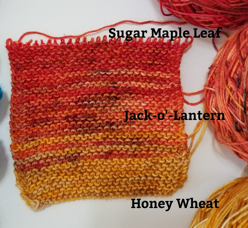 Fall Yarn Kit on half size skeins! Brilliant deep speckled red pumpkin orange honey wheat and milk chocolate Ships free!