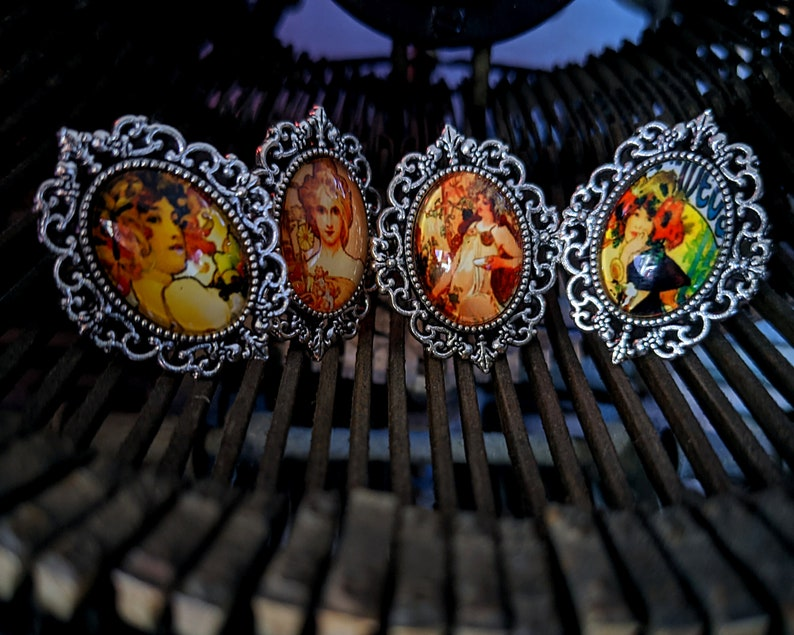 Fruit by Alphonse Mucha Inspired Glass Cabochon Antique Silver Adjustable Ring