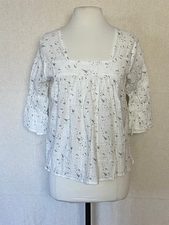 70's Handmade Cotton Blouse // beautiful 1970s cot