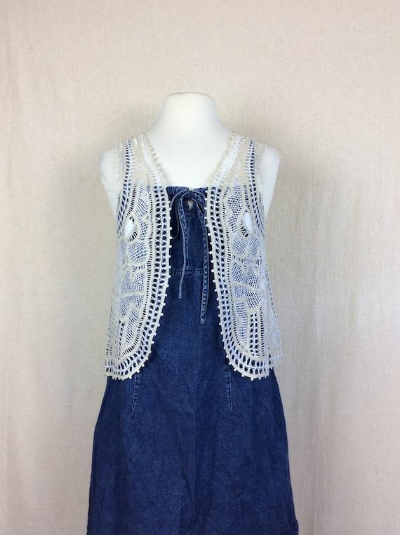 Vintage Crochet Vest // 1970s handmade crochet top