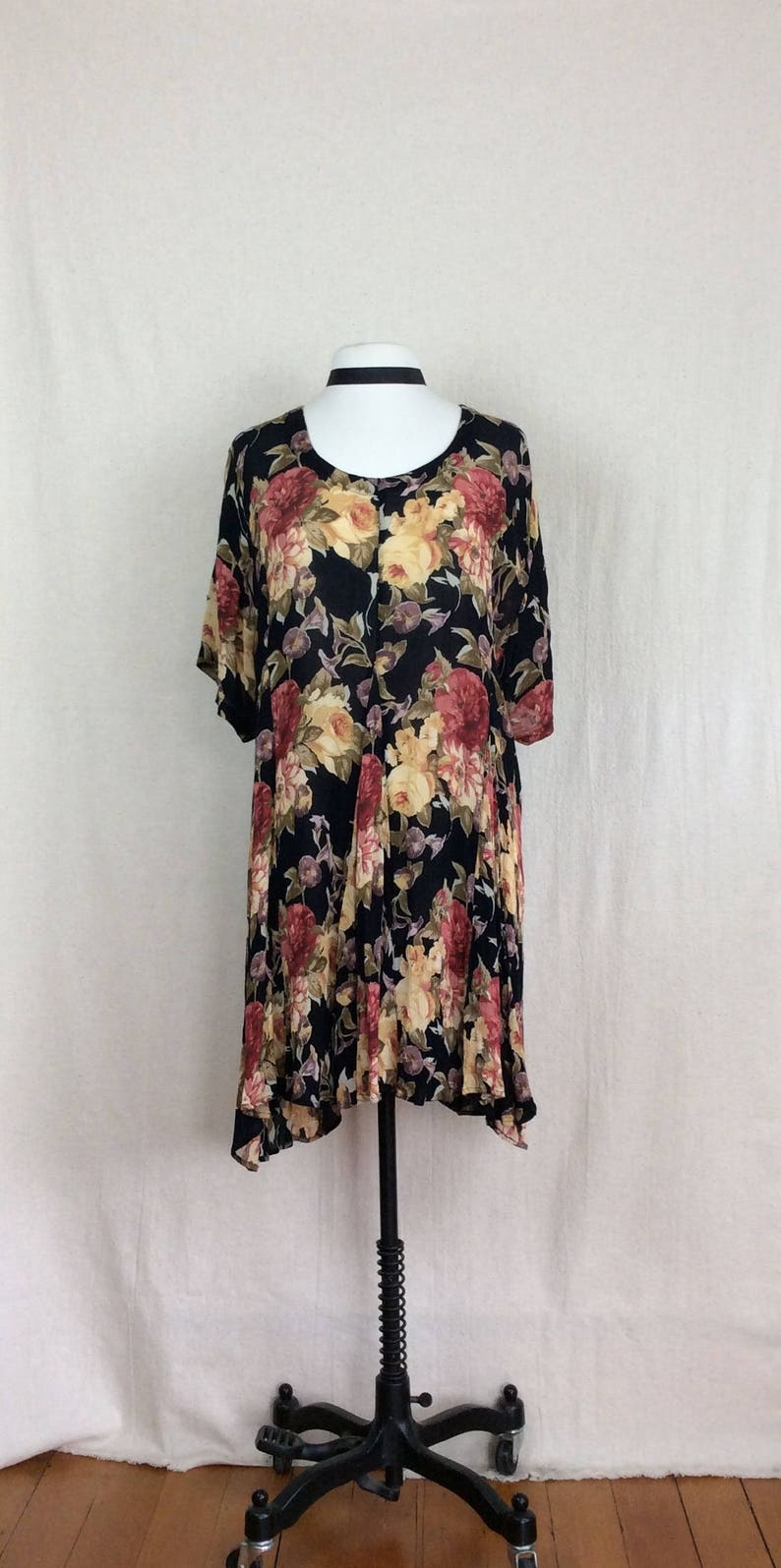 8429c3a5ead 90 s Roses Babydoll    vintage black floral drape sleeve