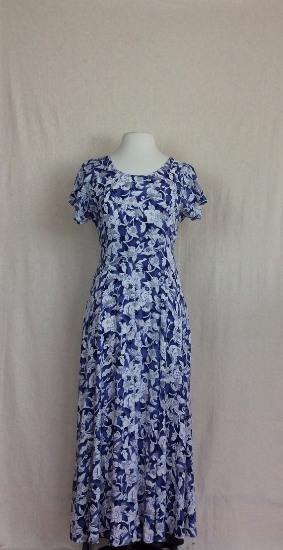 90's All That Jazz Dress vintage 1990's maxi floral maxi dress blue and white print long grunge sundress size Medium Large