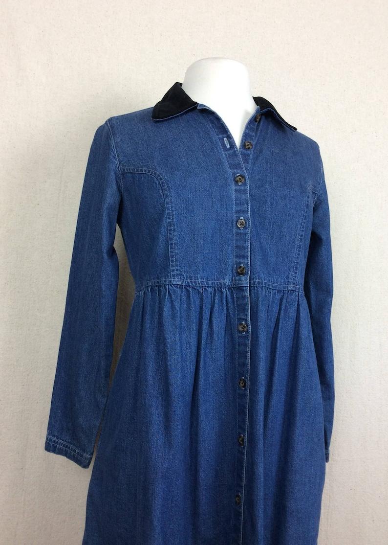3ec1de40958 90 s Denim Babydoll Dress    vintage 1990s Eddie Bauer blue jean dress  velve... 90 s Denim Babydoll Dress    vintage 1990s Eddie Bauer blue jean  dress ...
