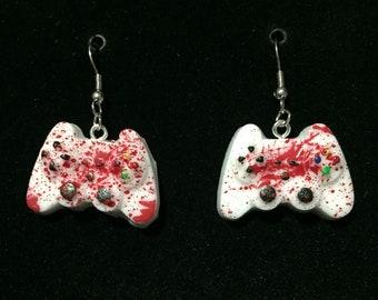 Blood splatter video game controller earrings -custom colors available