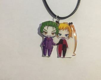 Chibi joker and harley quinn charm necklace