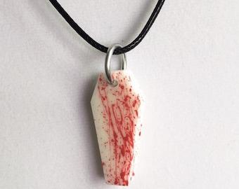 Blood splattered coffin necklace