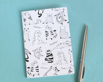 Cat Notebook, A6 notebook, black and white, Cat Illustration, Recycled Notebook, Pocket Notebook