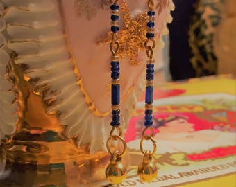 Blue and Gold Egyptian Revival Style Thin Dangle Earrings