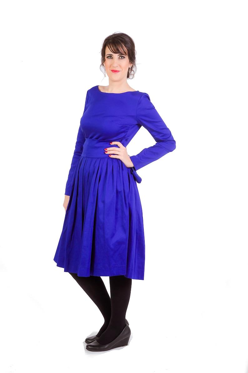 6f0fbc17090b Womens Dress Short Dress Midi Dress Navy Blue Dress Round   Etsy
