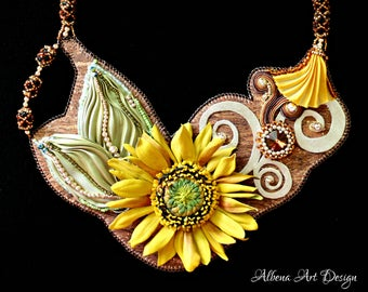 Sunny Egypt - Handmade Leather necklace with sunflower