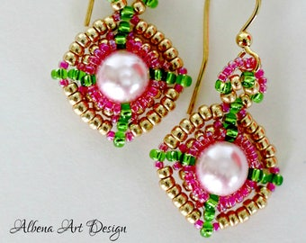 Gold and pastel - handmade earrings