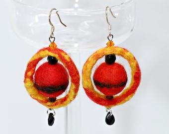 Ring of Fire-handmade earrings made of felt