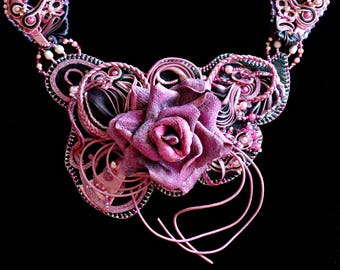 The ancient Rose - Handmade Leather necklace with rose