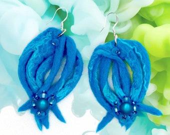 Underwater Paradise-Handmade earrings made of felt