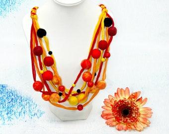 Mount Stromboli-handmade necklace made of silk and felt