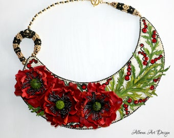 Floral triplet - Handmade Leather necklace with poppies