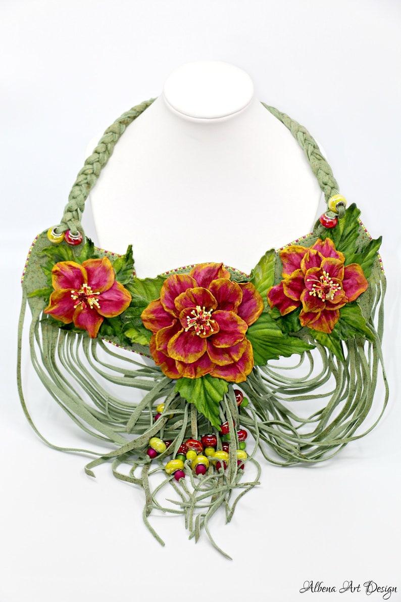 Kauai Sunrise-handmade leather necklace with hibiscus image 0