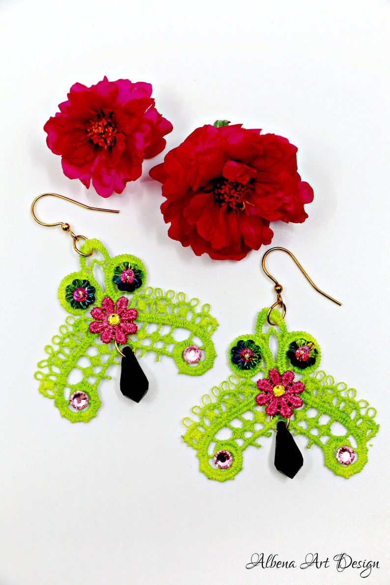 Space Invaders-handmade earrings made of lace and Swarowski image 0