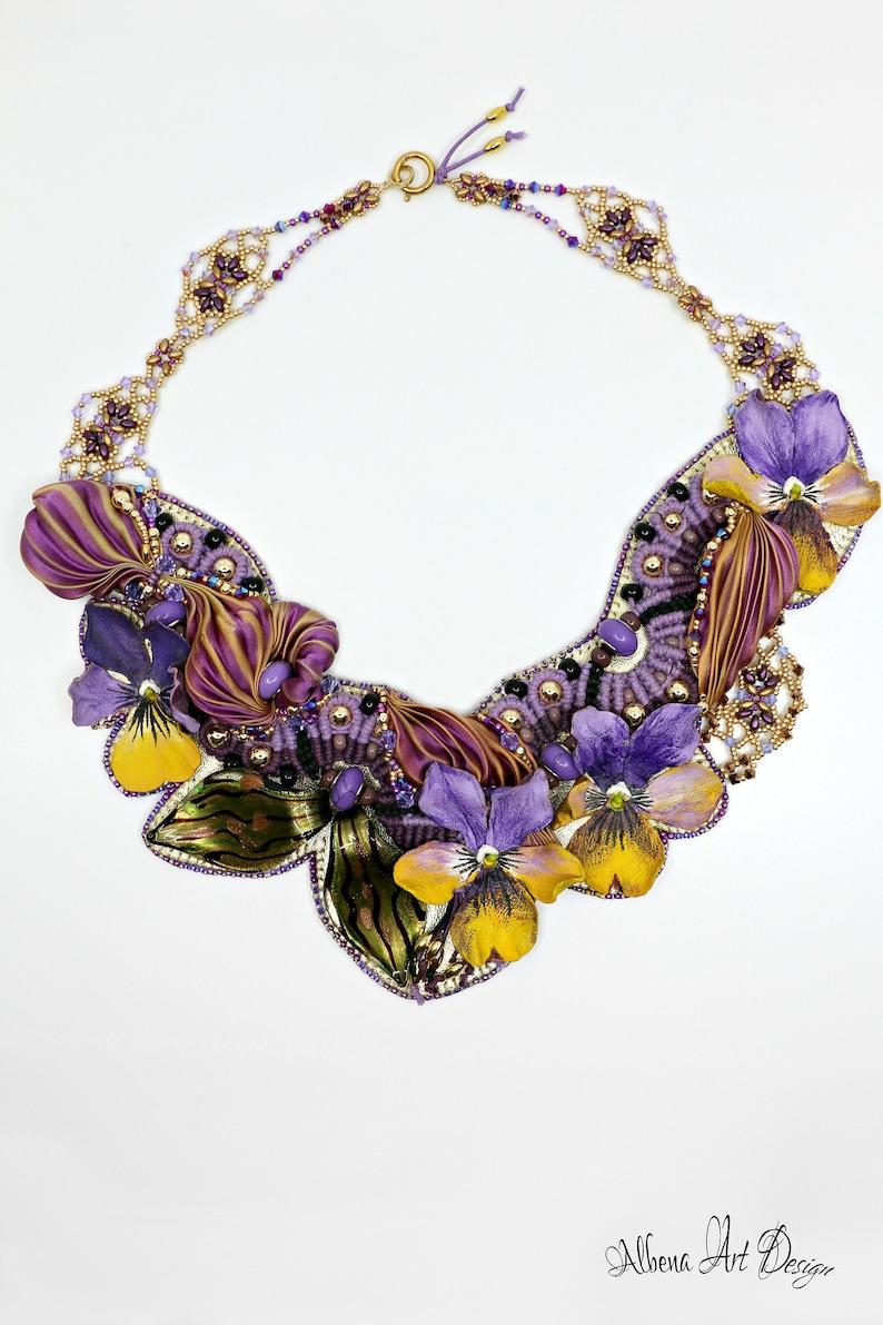 Purple Secret-handmade leather necklace flowers leather image 0