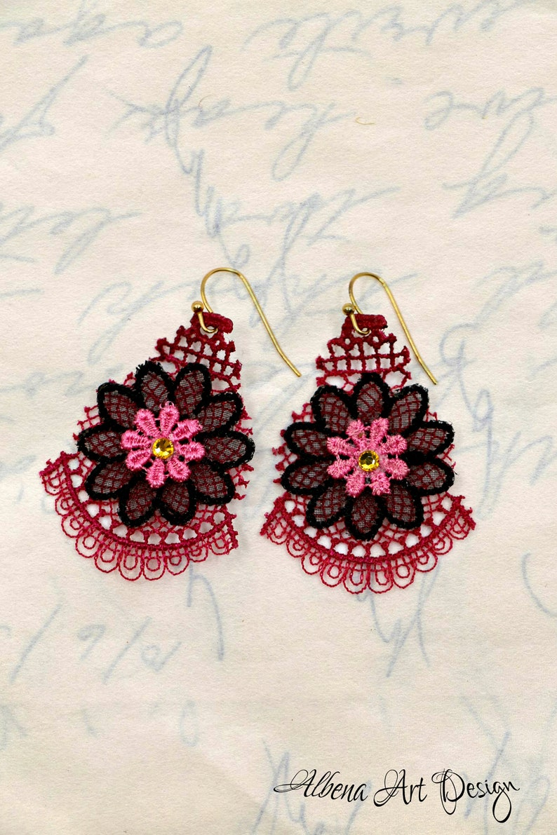 Rosemarys Wedding-handmade earrings made from real lace image 0