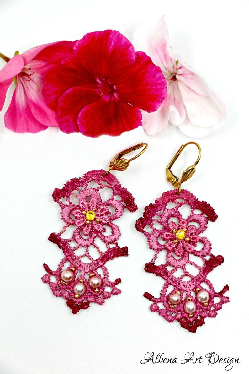 Cherry Blossom Pagoda-handmade earrings made of real lace image 0