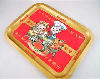 """Collectible Campbell Soup Metal Serving/ Dining Tray 14""""L X 10.5"""""""