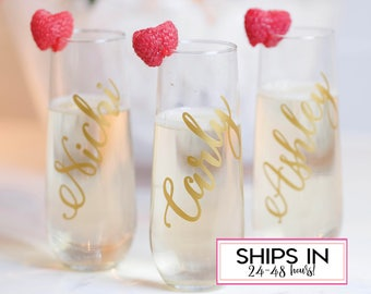 Bridesmaid gift, personalized champagne flute,  bachelorette party, glass champagne flute, stemless wine glass, custom proposal, rose gold