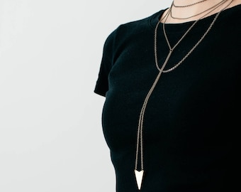 Layered, Multi Strand, Lariat Chain Necklace with Brass Dart Pendant: Tails Begin