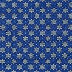 Jewish Fabric Star of Peace Royal Blue and Metallic no.733