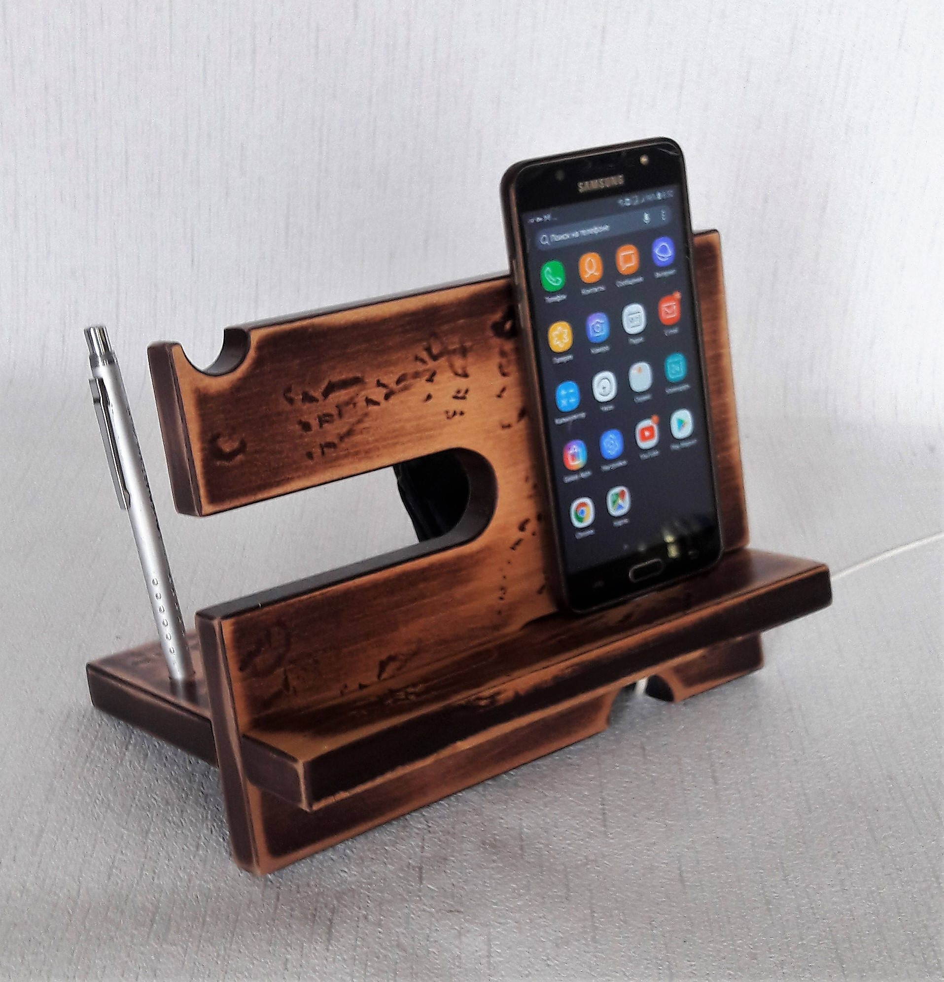 Wooden Docking Station Men Charging Station Organizer Nightstand Valet Phone Charging Dock Wooden Phone Holder Tech Gift Men