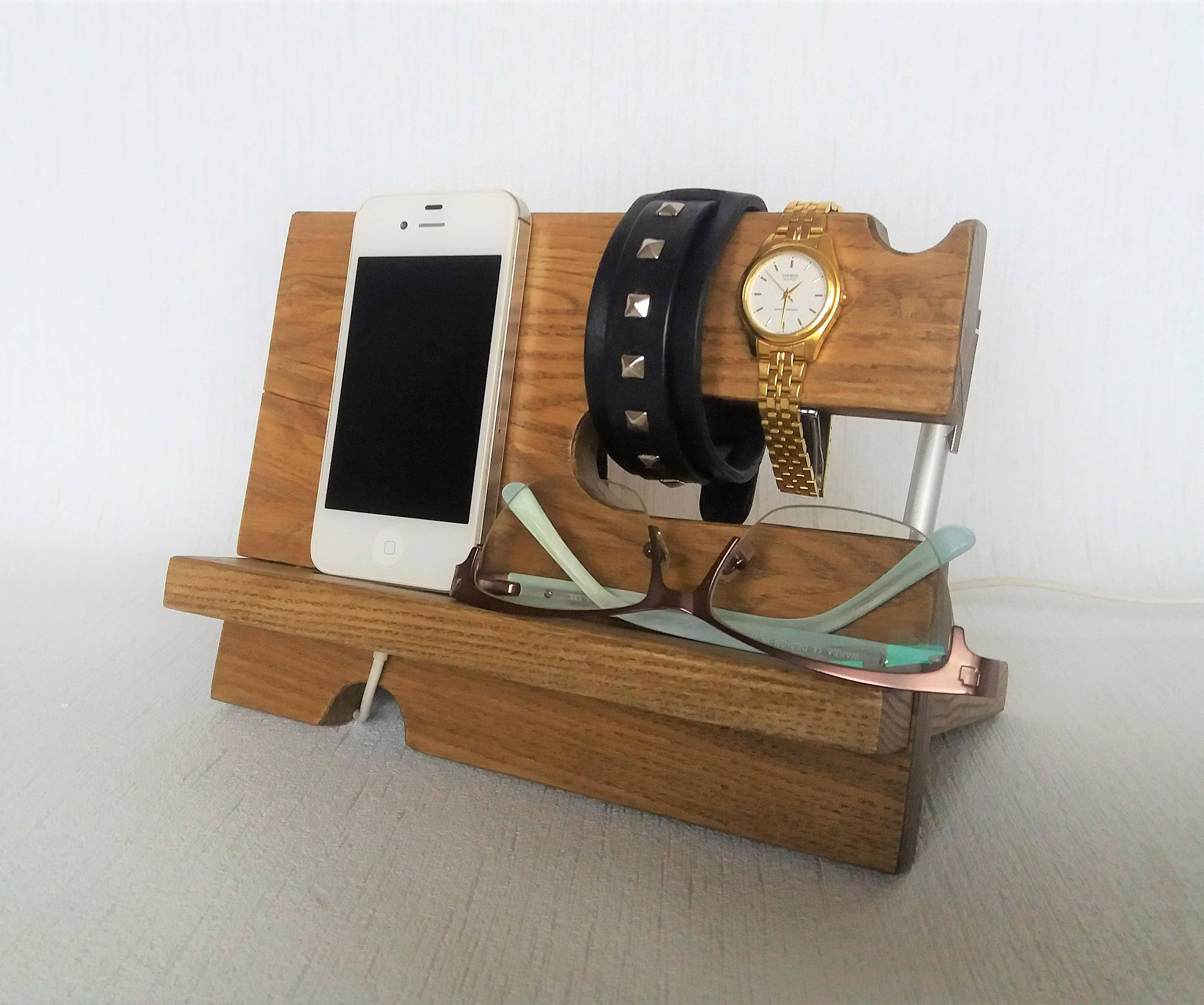 Mens Bedside Organizer Ash Wood Docking Station Wood Desk Organizer Bedside Charging Station Men Nightstand Organizer Iphone Android Stand