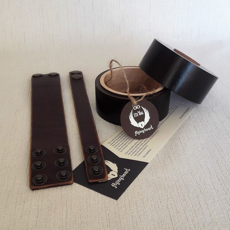 Couples bracelet set of 2 genuine leather cuff wooden gift box included Anniversary gift for couple Adjustable simple bracelet  Brown cuff