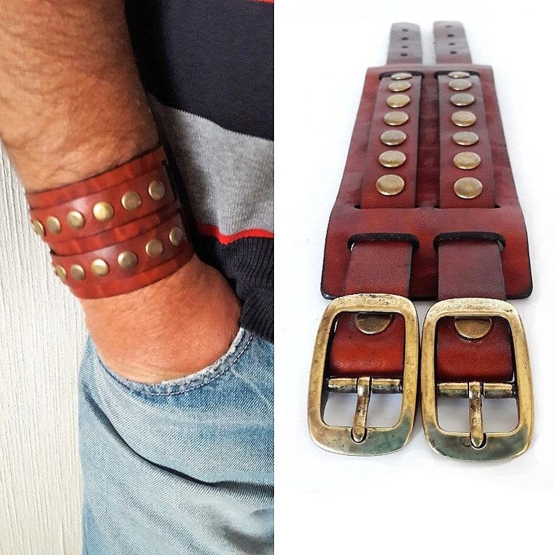 92b3498af5b75 Wide cuff adjustable leather bracelet with rivets Genuine | Etsy