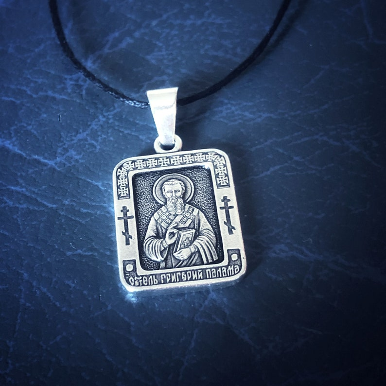 Saint Gregory Palamas the Archbishop of Thessalonica Icon Necklace \u0421hristian Necklace \u0421harm Religious gift for Gregory. Religious Pendant