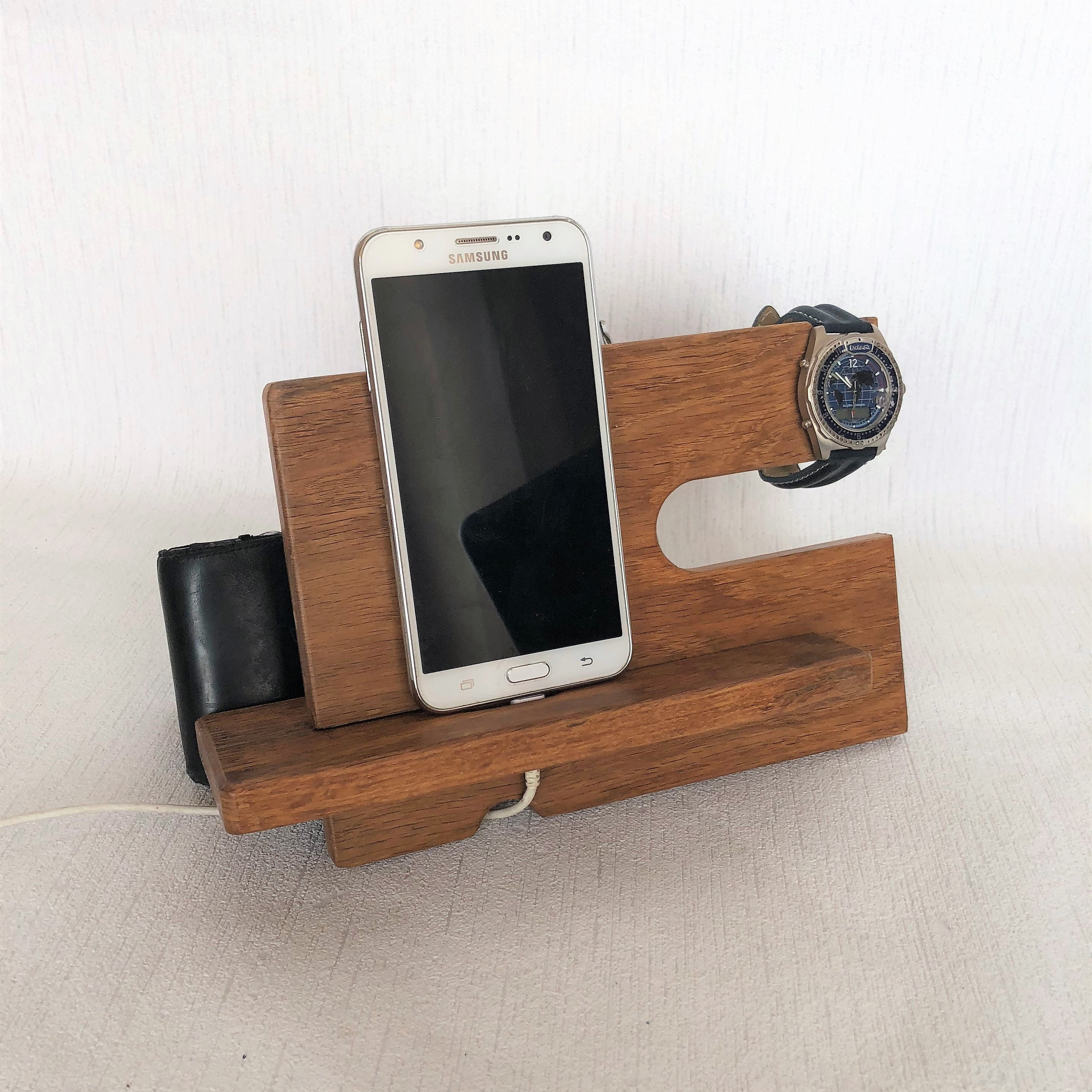Oak Wood Phone Docking Station Tech Gift Men Android Charging Station Mens Valet Nightstand Organizer Bedside Organizer Wallet Watch Holder
