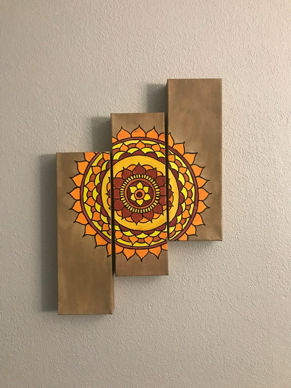 3 Piece Mandala Canvas Multi Canvas Painting Etsy