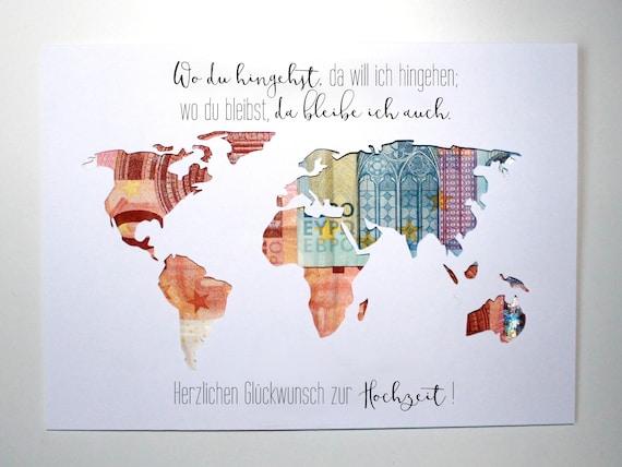 weltkarte hochzeitsgeschenk Geldgeschenk zur Hochzeit Weltkarte Farbwahl Individuelles | Etsy weltkarte hochzeitsgeschenk