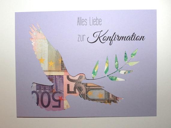Geldgeschenk Zur Konfirmation Farbwahl Taube Geld Hinterlegen Etsy
