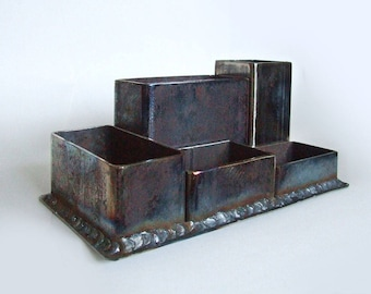 Industrial Style Forged Desk Organizer Loft Pen Stand For Home And Living  Rusty Steel Office Pen Holder Metal Iron Wrought Desk Storage