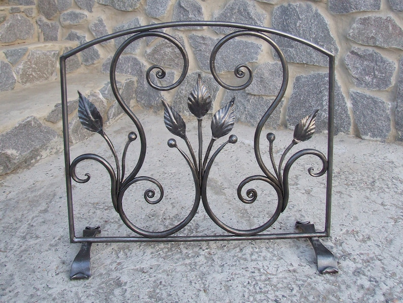 Artistic Hand Forged Metal Fireplace Screen Iron Steel Wrought Etsy