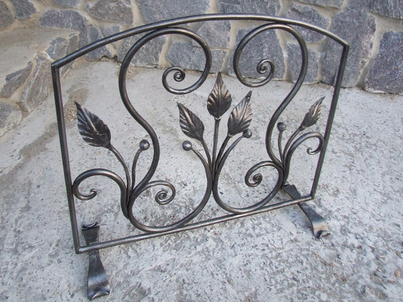 Hand Forged Fireplace Screen Metal Fireplace Doors Iron Etsy