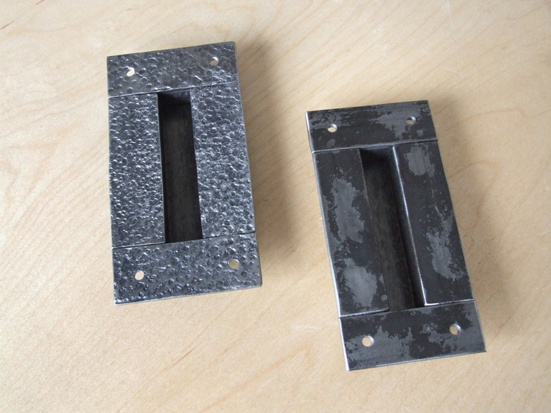 Hand forged sliding barn door pulls Flush recessed finger handles Industrial loft handle Wrought hammered metal rusty rectangular door pull