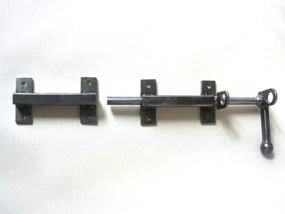 Industrial handcrafted barn door latch for craft supplies Rustic steel door equipment Gate lock padlock Wrought door hardware Iron locks