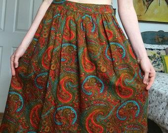 Vintage 70s Paisley Pattern Skirt