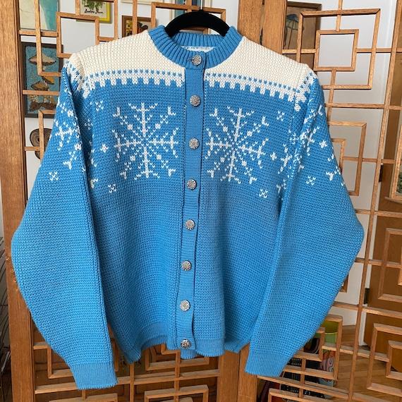 Vintage 1950s Jersild Blue Snowflake Sweater