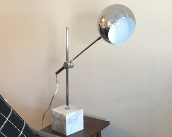 SALE  70 Off   Chrome Marble Base Adjustable Table Lamp   Excellent  Condition Silver Metal