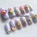Magical Girl Holo Sailor Moon Themed Press On Gel Nail Art Fake Nails