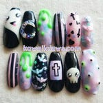 Pastel Goth Kawaii Halloween Creepy Cute Gel Nail Art Press on false fake nails