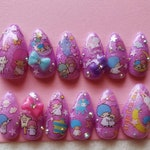 RTS size Small Kiki & Lala Twin Stars Gel Nail Art Pastel Glitter Press on false fake nails