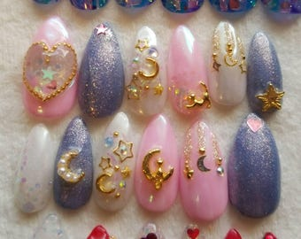 Pink Purple Pastel Kawaii Kitty Cat Moon Stars Glitter Gel Nail Art Press On False Fake Nails